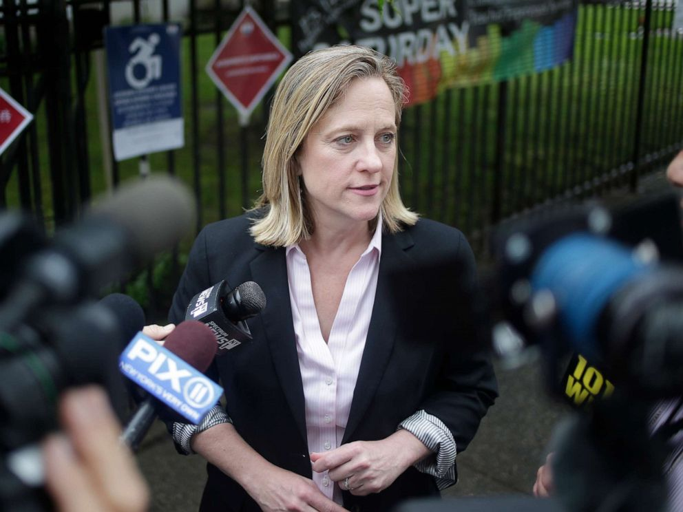 PHOTO: Queens Borough President and candidate for district attorney Melinda Katz talks to reporters after voting in the Queens borough of New York, June 25, 2019.