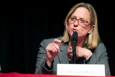 PHOTO: Queens Borough President Melinda Katz speaks during a Queens District Attorney candidates forum at St. Johns University in New York, June 13, 2019.