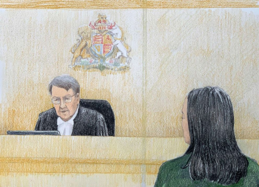 PHOTO: This courtroom sketch by Jane Wolsak and released to AFP by the artist shows Meng Wanzhou (R), Huaweis chief financial officer, listening in the courtroom in Vancouver, British Columbia, Dec. 11, 2018.
