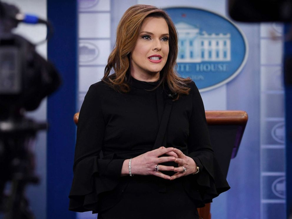 PHOTO: Communications adviser Mercedes Schlapp conducts an interview in the press briefing at the White House in Washington, Jan. 29, 2019.