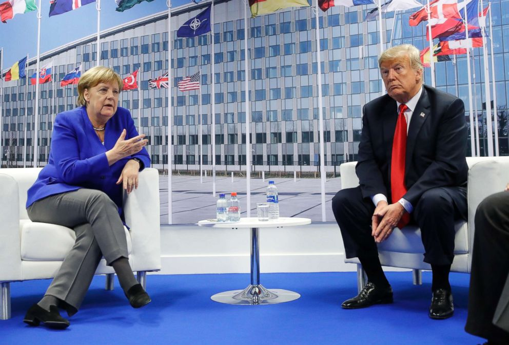 PHOTO: President Donald Trump and German Chancellor Angela Merkel hold a bilateral meeting, July 11, 2018 in Brussels, Belgium during the NATO summit.