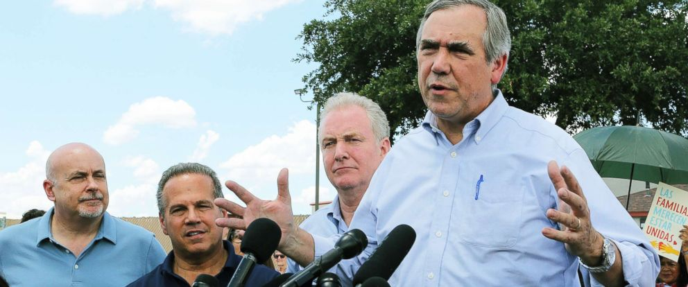 PHOTO: Sen. Jeff Merkley, right, speaks to the media along with Sen. Chris Van Hollen, center, in front of the U.S. Customs and Border Protections Rio Grande Valley Sectors Centralized Processing Center in McAllen, Texas, June 17, 2018.