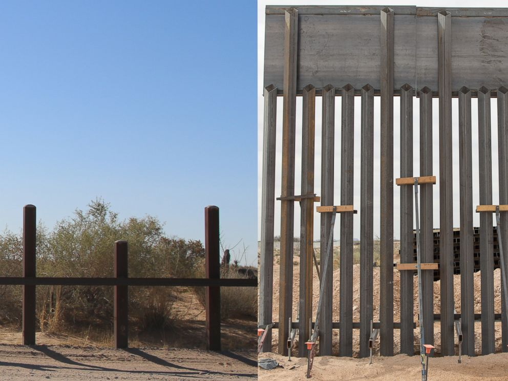 PHOTO: Two photos released by U.S. Customs and Border Protection shows a side-by-side comparison view of the existing vehicle barrier, left, a new wall construction mock-up, right, at the U.S.-Mexico border near Santa Teresa, N.M., April 7, 2018.