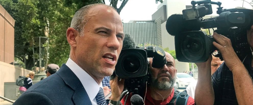Porn actress Stormy Daniels lawyer Michael Avenatti talks to the media outside of Los Angeles County Superior Court after a hearing in Los Angeles Tuesday, July 10, 2018.