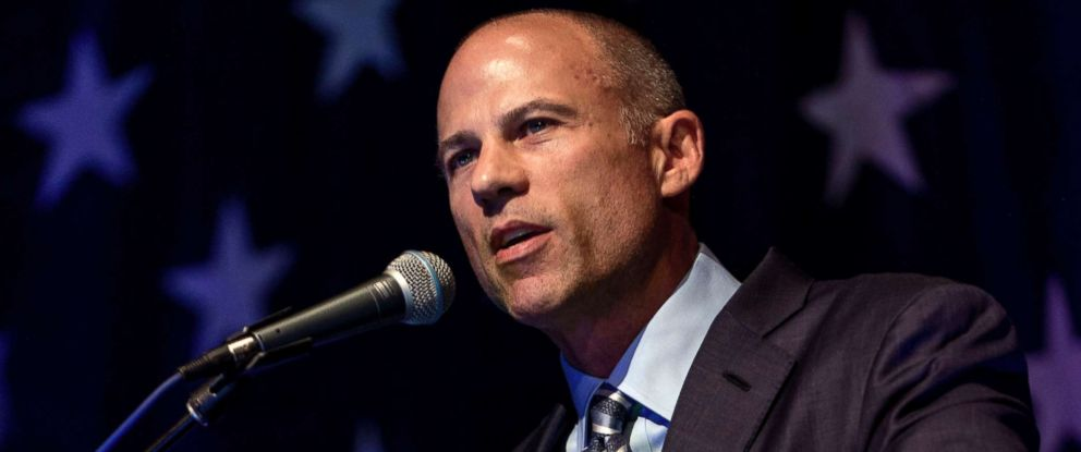 PHOTO: Michael Avenatti speaks at the Iowa Democratic Wing Ding, a grassroots fundraiser for county party organizations in North Iowa, on Aug. 10, 2018, in Clear Lake, Iowa.