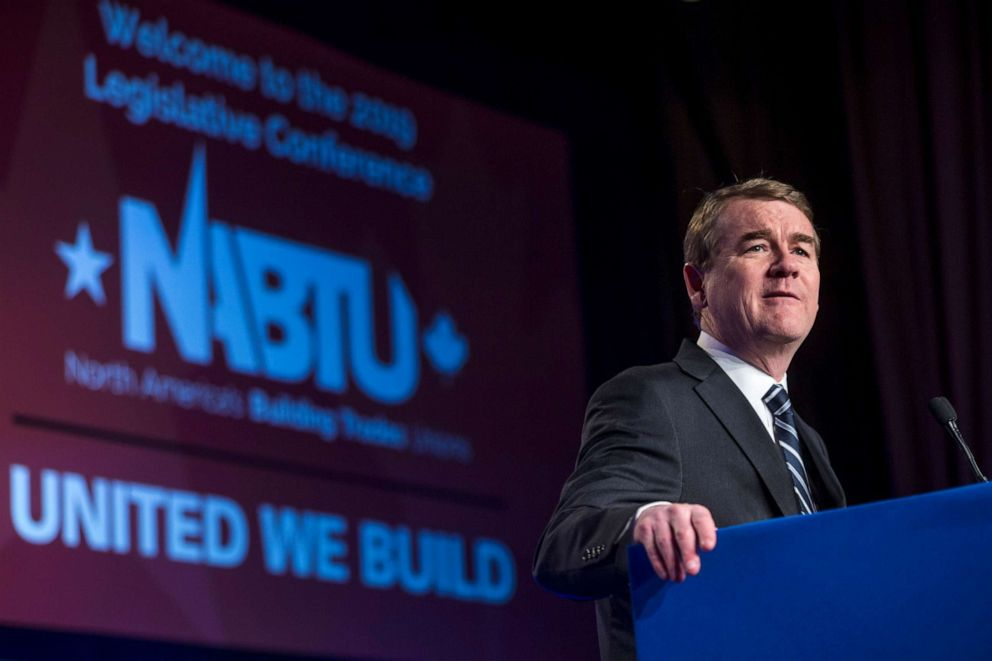 PHOTO: Sen. Michael Bennet speaks during the North American Building Trades Unions Conference at the Washington Hilton, April 10, 2019, in Washington, DC.