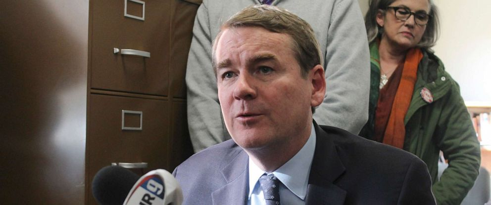 PHOTO: Democratic presidential candidate Sen. Michael Bennet speaks to the media in the New Hampshire secretary of states office, Nov. 6, 2019, in Concord, N.H., after filing to be on the states first-in-the-nation presidential primary ballot.
