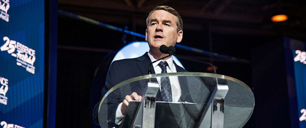 PHOTO: Democratic presidential candidate, Sen. Michael Bennet, speaks at the 2019 Essence Festival in New Orleans, July 6, 2019.