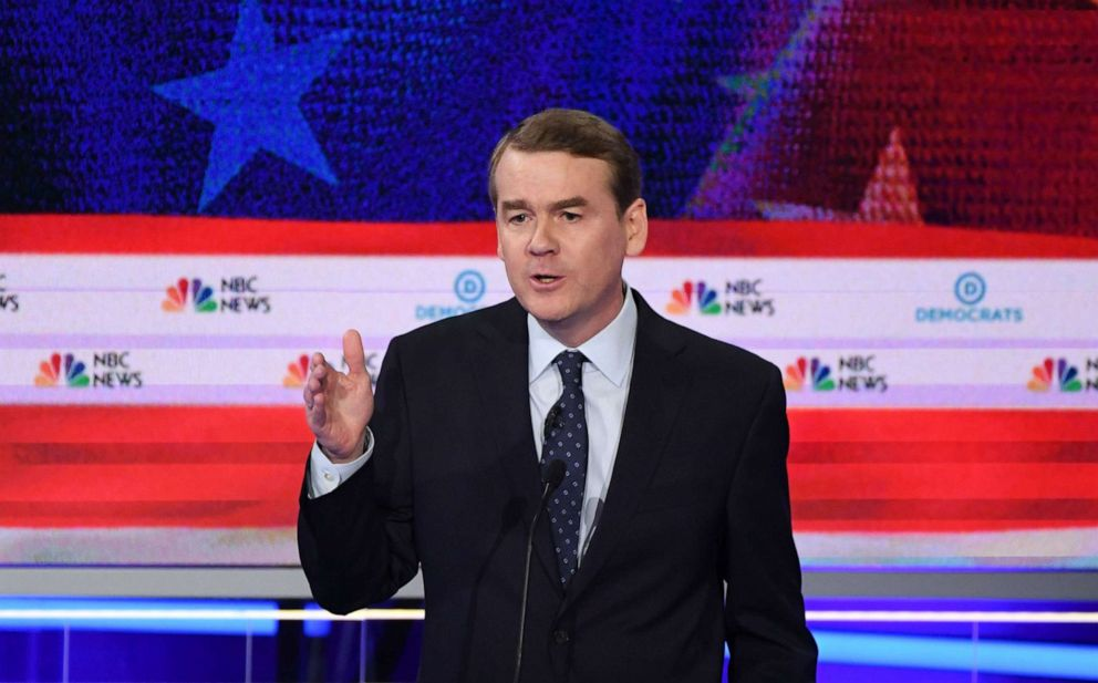 PHOTO: Michael Bennet participates in the second night of the first 2020 democratic presidential debate in Miami, June 27, 2019.