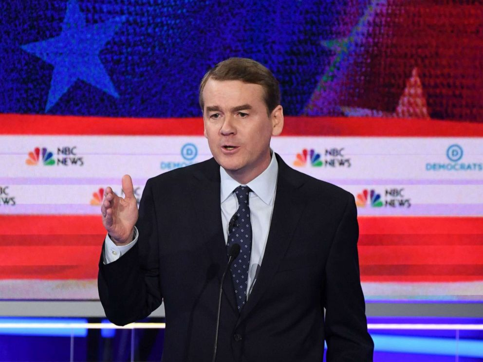 PHOTO: Michael Bennet participates in the second night of the first 2020 democratic presidential debate at the Adrienne Arsht Center for the Performing Arts in Miami, June 27, 2019.