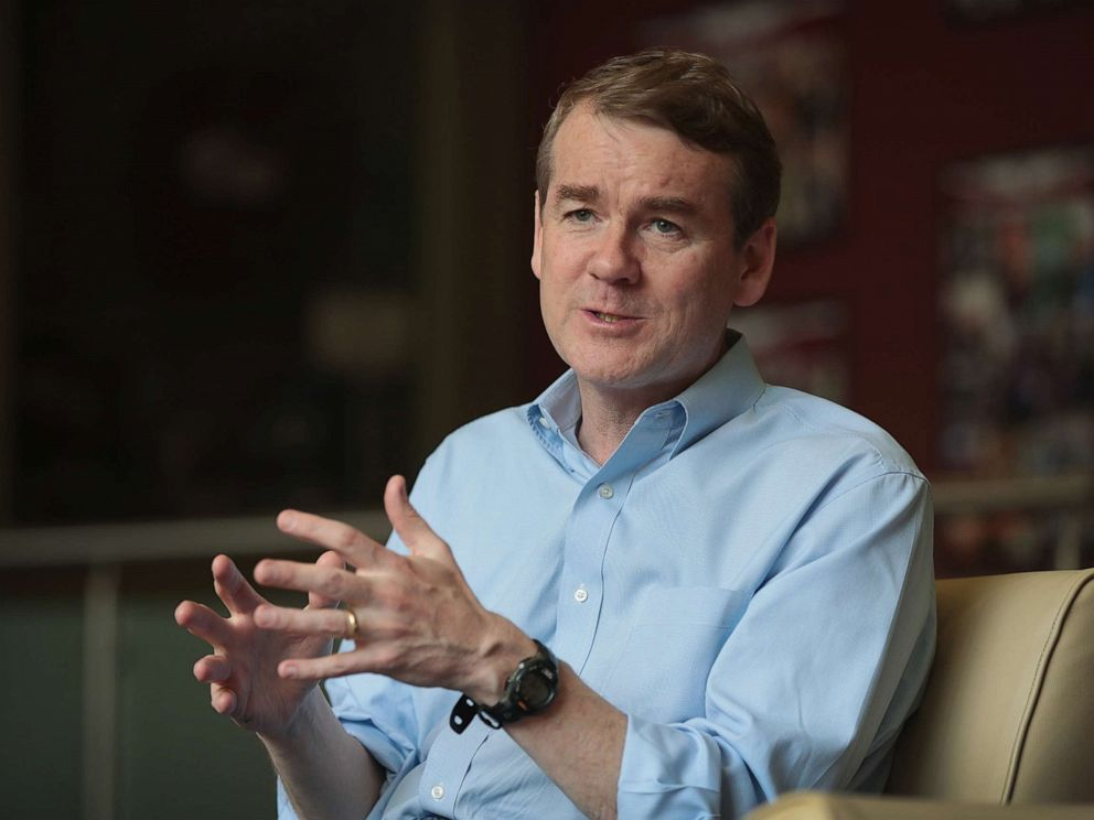 PHOTO: Michael Bennet speaks during a campaign stop on May 18, 2019 in Sioux City, Iowa.
