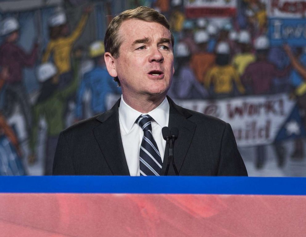 PHOTO: Sen. Michael Bennet speaks during the North American Building Trades Unions Conference in Washington, D.C., April 10, 2019.