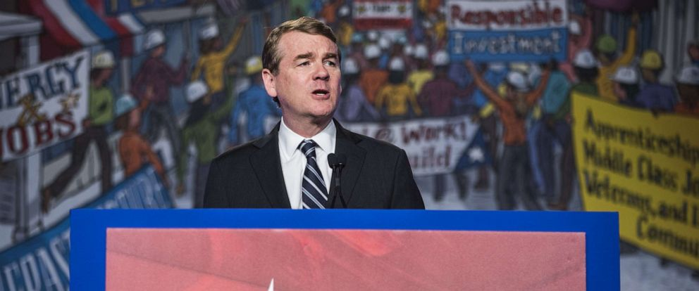 PHOTO: Sen. Michael Bennet speaks during the North American Building Trades Unions Conference at the Washington Hilton, April 10, 2019, in Washington, D.C.