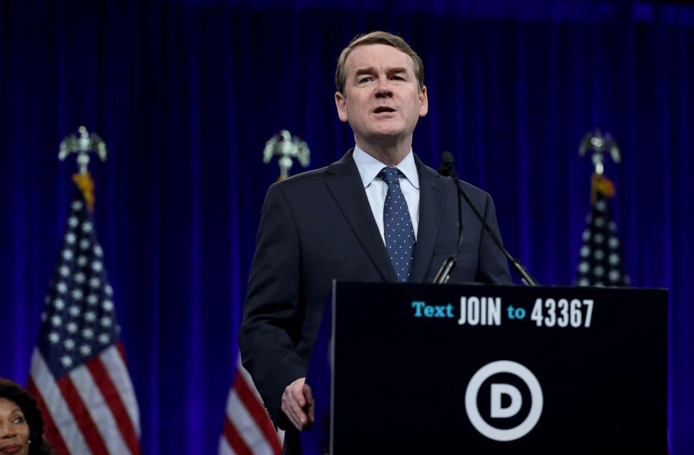 PHOTO: Democratic presidential candidate and Sen. Michael Bennet speaks during the Democratic Presidential Committee (DNC) summer meeting, Aug. 23, 2019, in San Francisco, Calif.