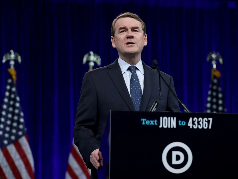 PHOTO: Democratic presidential candidate, Sen. Michael Bennet speaks during the Democratic Presidential Committee summer meeting, Aug. 23, 2019, in San Francisco.