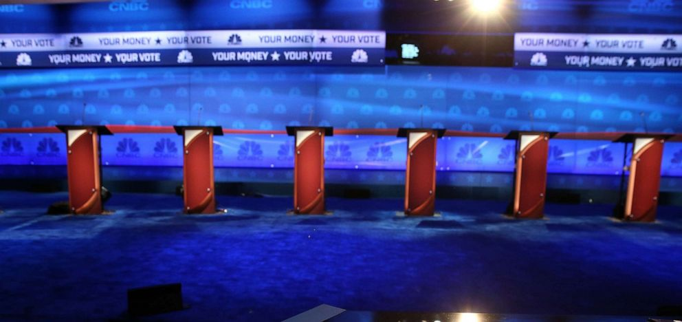 PHOTO: The stage is prepared for the CNBC Republican presidential debate at the University of Colorado October 27, 2015, in Boulder, Colo.