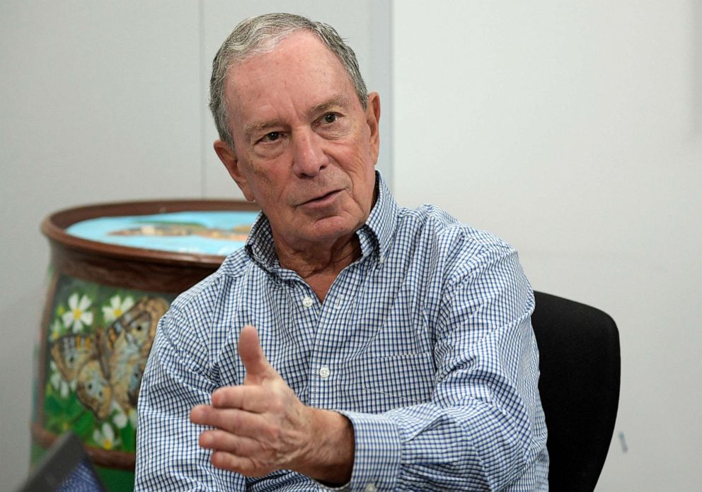 PHOTO: Former New York City Mayor Michael Bloomberg answers a question during an interview with The Associated Press in Orlando, Fla., Feb. 8, 2019.