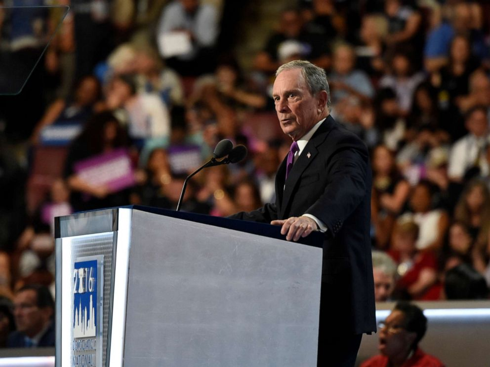 PHOTO: Michael Bloomberg speaks at the 2016 Democratic National Convention from the Wells Fargo Center in Philadelphia, PA, July 27, 2016.