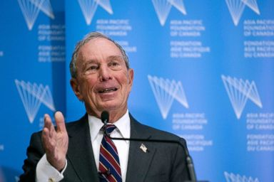 PHOTO: Former New York City Mayor Michael R. Bloomberg addresses a group of business and government leaders at the Asia Pacific Foundation in Toronto, Jan. 15, 2019.