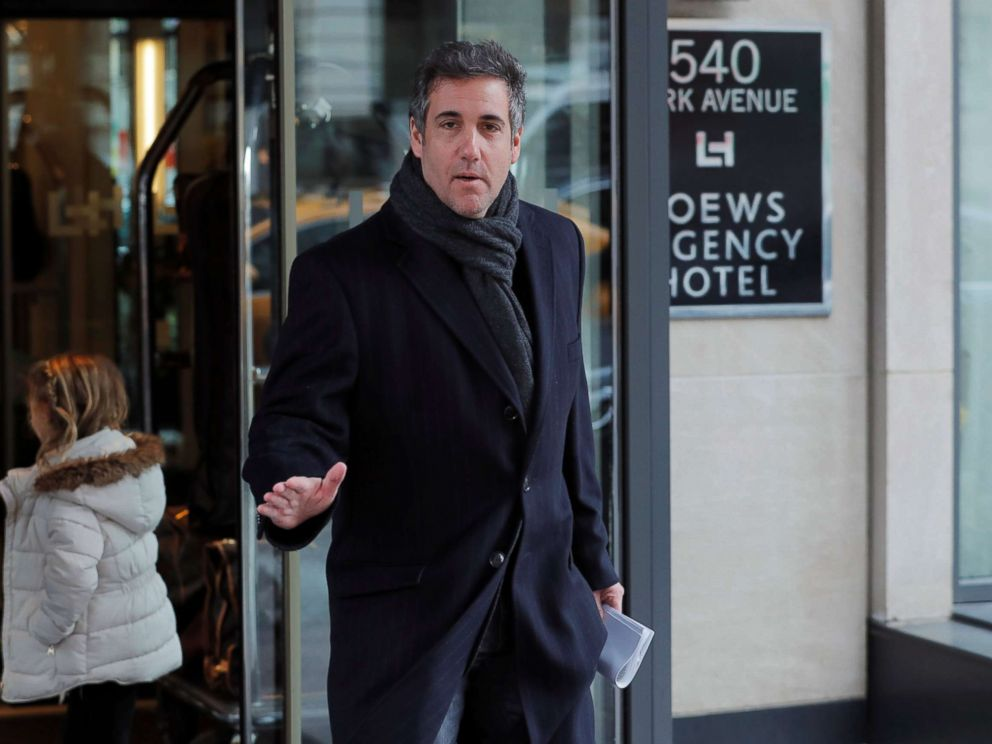 PHOTO: Donald Trumps personal lawyer Michael Cohen exits a hotel in New York City, April 15, 2018.