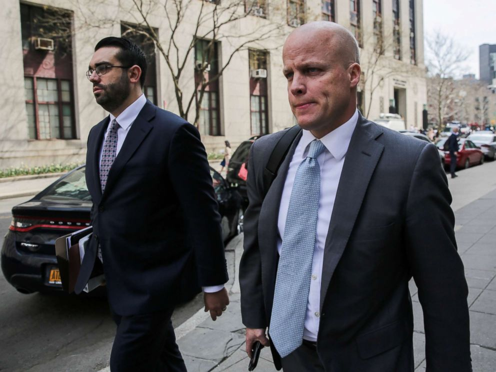 PHOTO: Michael Cohens attorneys Joseph Evans and Todd Harrison are pictured outside the Manhattan Federal Court in New York, April 13, 2018.