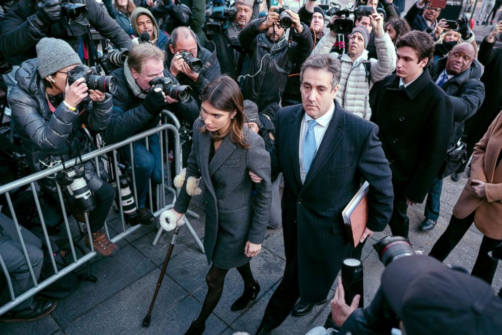 PHOTO: Michael Cohen, center, President Donald Trumps former lawyer, accompanied by his children Samantha, left, and Jake, right, arrives at federal court for his sentencing in New York, Dec. 12, 2018.