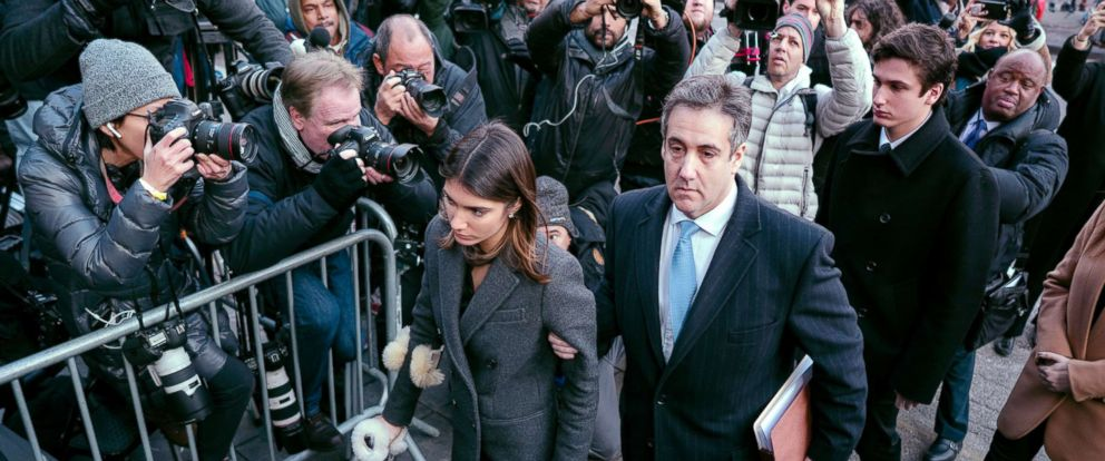 PHOTO: Michael Cohen, center, President Donald Trumps former lawyer, accompanied by his children Samantha, left, and Jake, right, arrives at federal court for his sentencing in N.Y., Dec. 12, 2018.