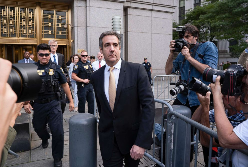 PHOTO: Michael Cohen, former personal lawyer to President Donald Trump, leaves federal court after reaching a plea agreement in New York City, Aug. 21, 2018.