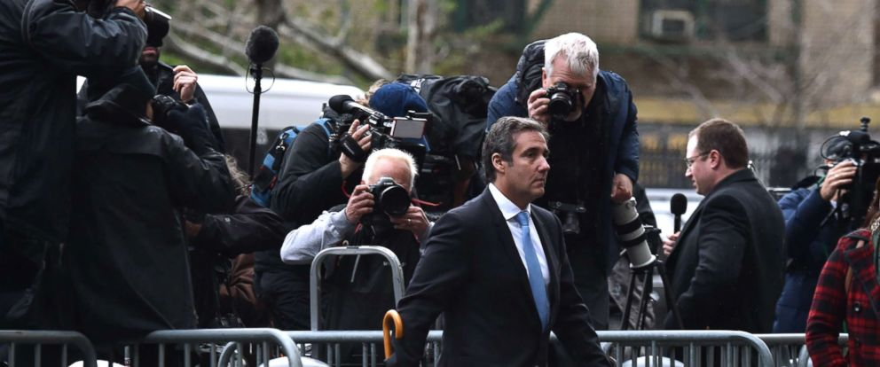 PHOTO: Michael Cohen, personal lawyer of President Donald Trump, arrives for a court hearing at the US Courthouse in New York, April 16, 2018. Cohen has been under criminal investigation and FBI agents last week raided his home and other locations.