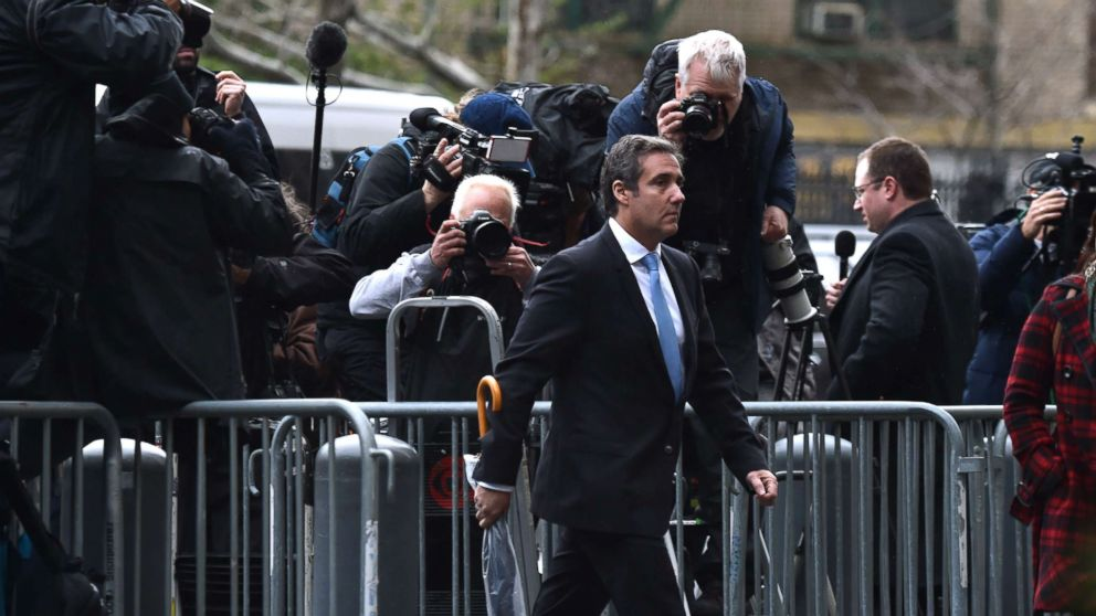 Michael Cohen, personal lawyer of President Donald Trump, arrives for a court hearing at the US Courthouse in New York, April 16, 2018. Cohen has been under criminal investigation for months over his business dealings, and FBI agents last week raided his home, hotel room, office, a safety deposit box and seized two cellphones.
