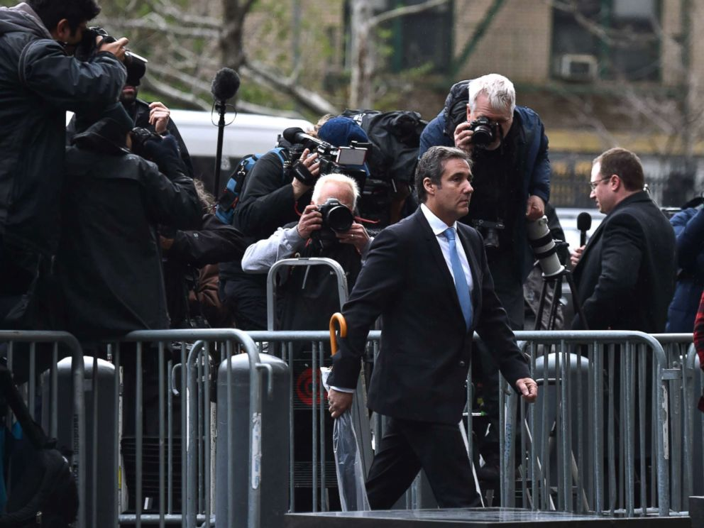 Micheal Cohen, Donald Trump's lawyer, arrives at the hearing after his office was raided by the FBI