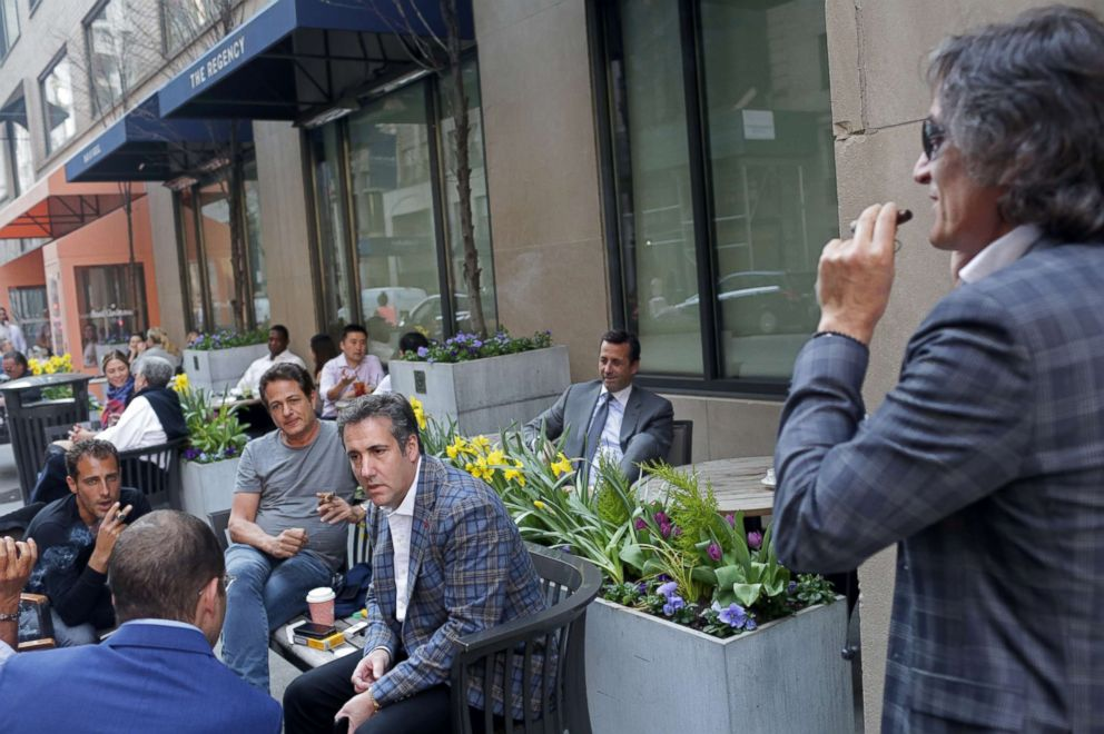 PHOTO: Michael Cohen, center, chats with friends near the Loews Regency hotel on Park Ave, April 13, 2018, in New York. Two of the men appear to be Rotem Rosen and Jerry Rotonda. ABC News was not able to identify the other men pictured.