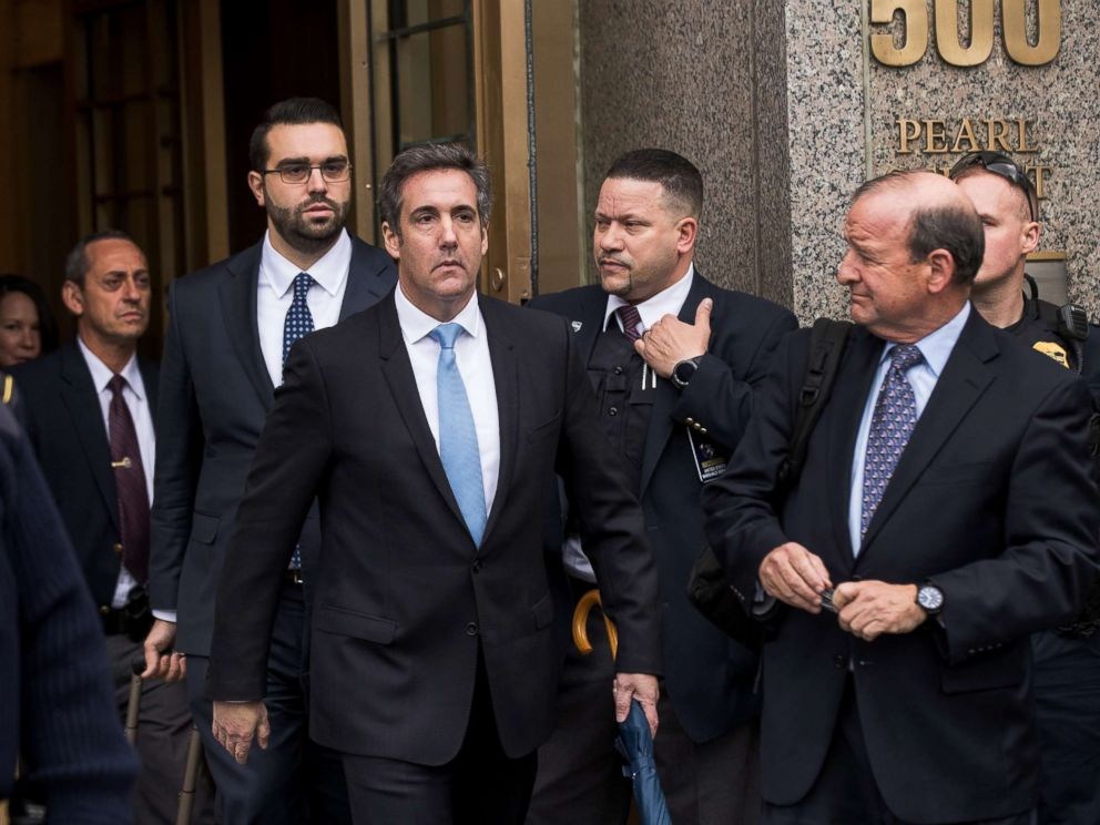 PHOTO: Michael Cohen, longtime personal lawyer and confidante for President Donald Trump, exits the United States District Court Southern District of New York, April 16, 2018, in New York City.