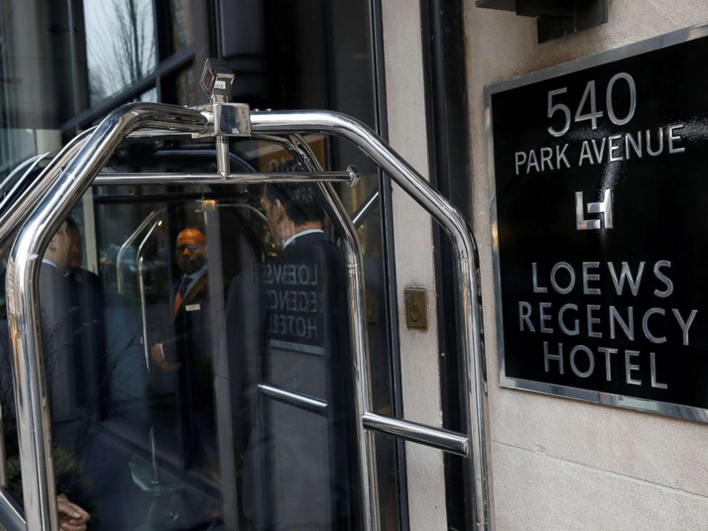 PHOTO: The outside of the Loews Regency Hotel where officials raided a room belonging to President Trumps personal lawyer Michael Cohen is seen in New York, April 9, 2018.