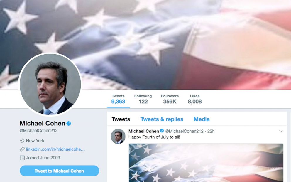 PHOTO: A screen shot taken by ABC News of Michael Cohens Twitter header as of July 4, 2018.