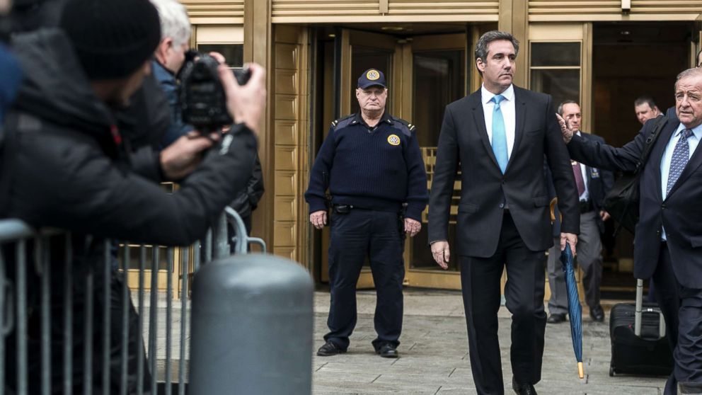 Michael Cohen, President Donald Trump's longtime personal lawyer, leaves federal court in New York, April 16, 2018. A federal judge on Monday rejected an attempt by President Trump and Cohen to block prosecutors from immediately reviewing a trove of materials seized in FBI raids last week on  Cohen's office, home, hotel room and safe deposit box.