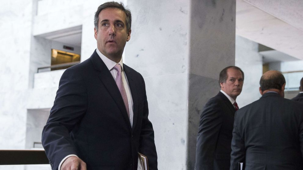 Michael Cohen, a former lawyer for President Trump's business and a close associate of the president meets with Senate Intelligence Committee, Sept. 19, 2017, in Washington.
