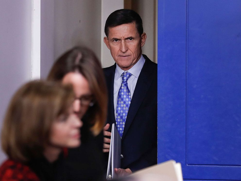 PHOTO: In this Feb. 1, 2017, photo, then-National Security Adviser Michael Flynn arrives for the daily news briefing at the White House, in Washington.