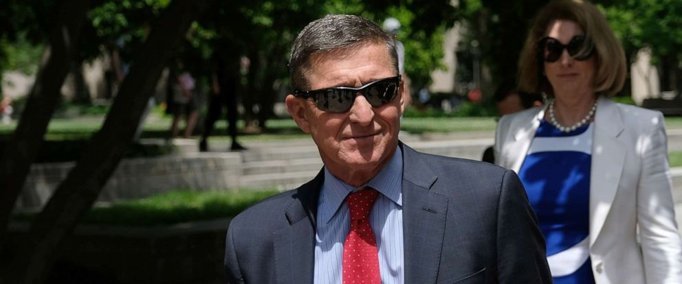 PHOTO: Former National Security Adviser Michael Flynn leaves the E. Barrett Prettyman U.S. Courthouse on June 24, 2019 in Washington, D.C.