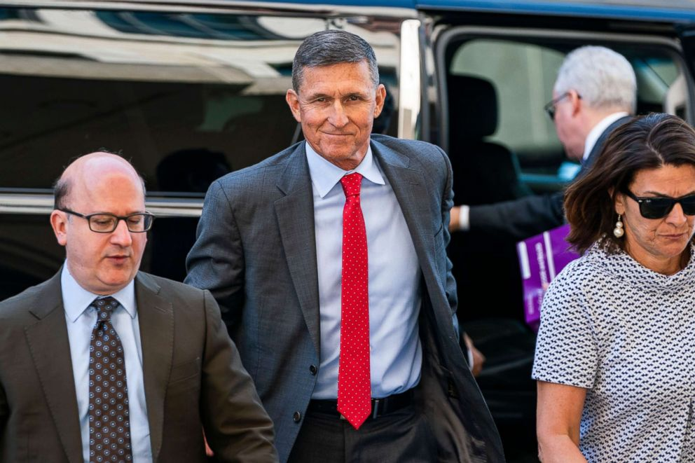 PHOTO: Michael Flynn, the former National Security Advisor President Donald J. Trump, walks into the Federal courthouse in Washington, on July 10, 2018. A federal judge ordered Flynn to attend a hearing about a delay in his sentencing.