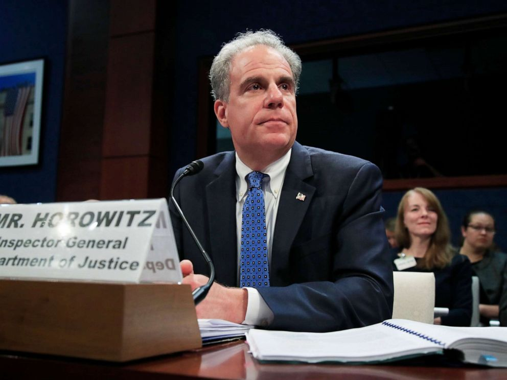 PHOTO: Department of Justice Inspector General Michael Horowitz testifies before a House Committee on Capitol Hill in Washington, D.C., June 19, 2018.