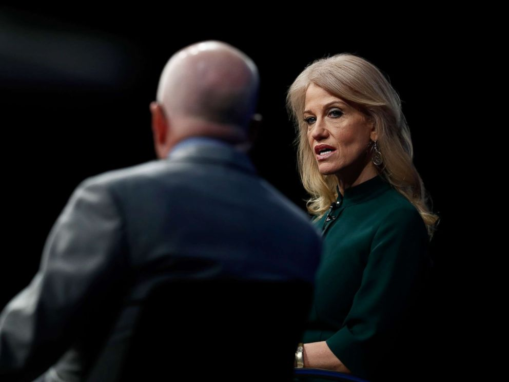 PHOTO: Counselor to President Donald Trump Kellyanne Conway speaks with forum moderator Michael Wolff at the Newseum in Washington, April 12, 2017, during The President and the Press: The First Amendment in the First 100 Days forum.