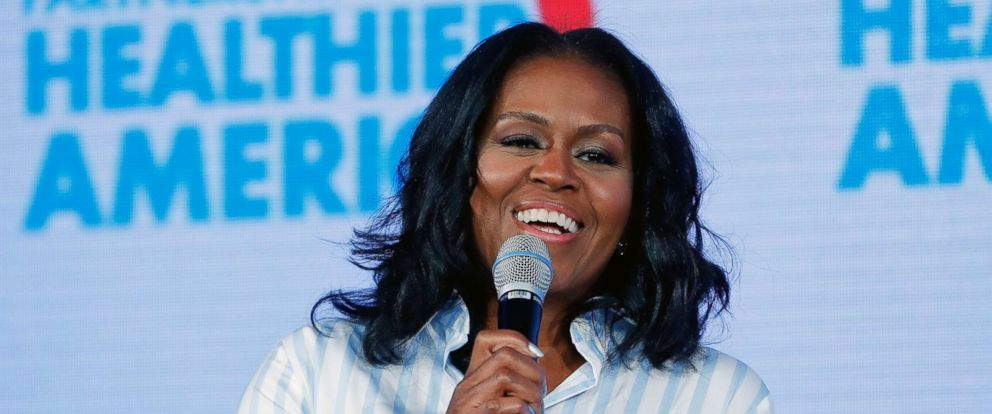 PHOTO: Former first lady Michelle Obama smiles while speaking at the Partnership for a Healthier American 2017 Healthier Future Summit in Washington D.C., May 12, 2017.