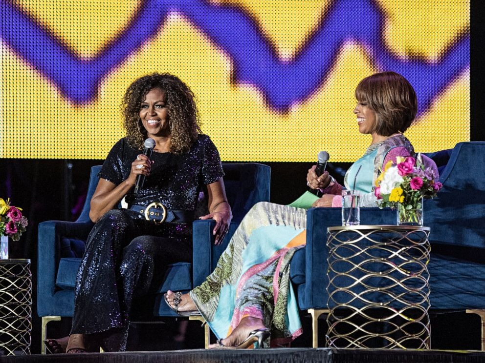 PHOTO: Michelle Obama and Gayle King participate in the 2019 Essence Festival at the Mercedes-Benz Superdome, Saturday, July 6, 2019, in New Orleans.