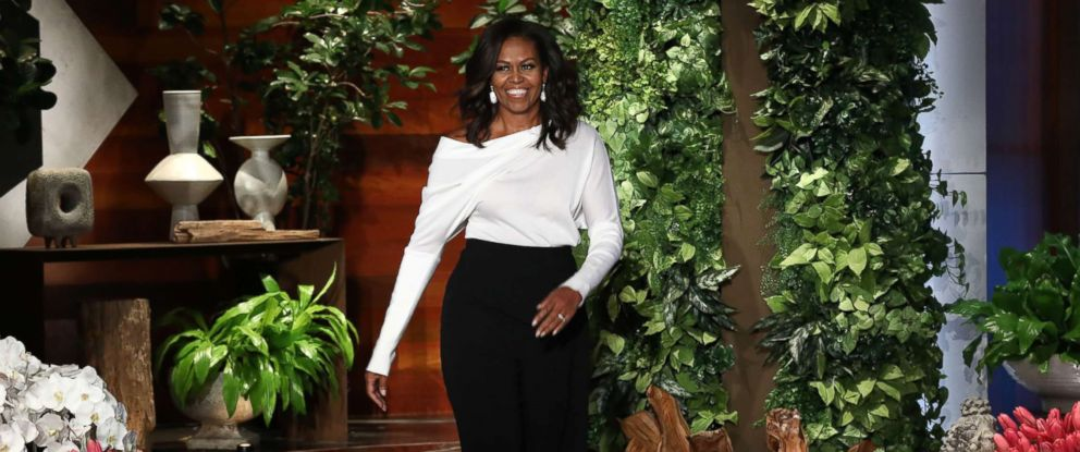 "PHOTO: Michelle Obama appears on the Feb. 1, 2018, episode of ""The Ellen DeGeneres Show"" in Burbank, Calif."