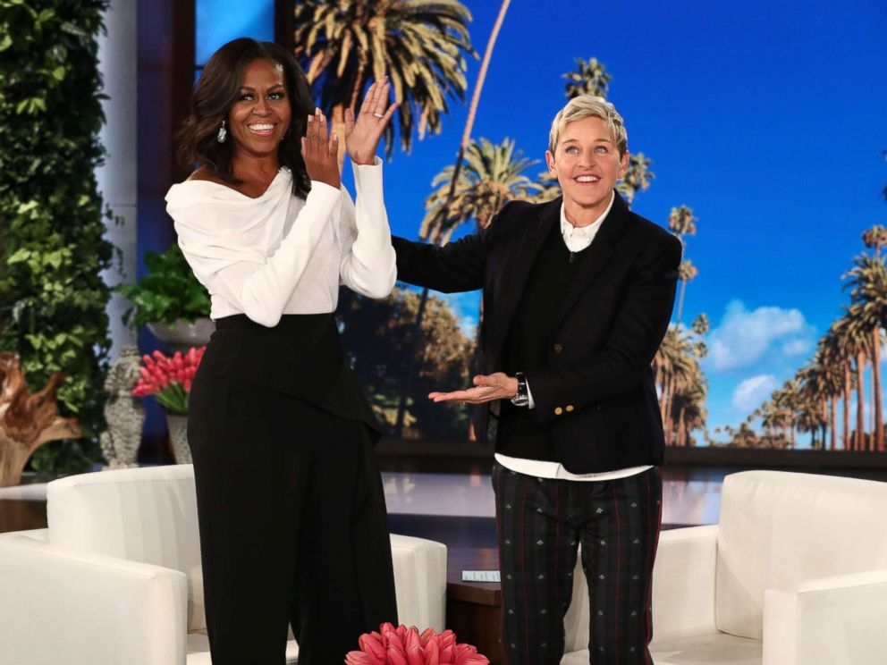 PHOTO: Michelle Obama appears on the Feb. 1, 2018, episode of The Ellen DeGeneres Show in Burbank, Calif.