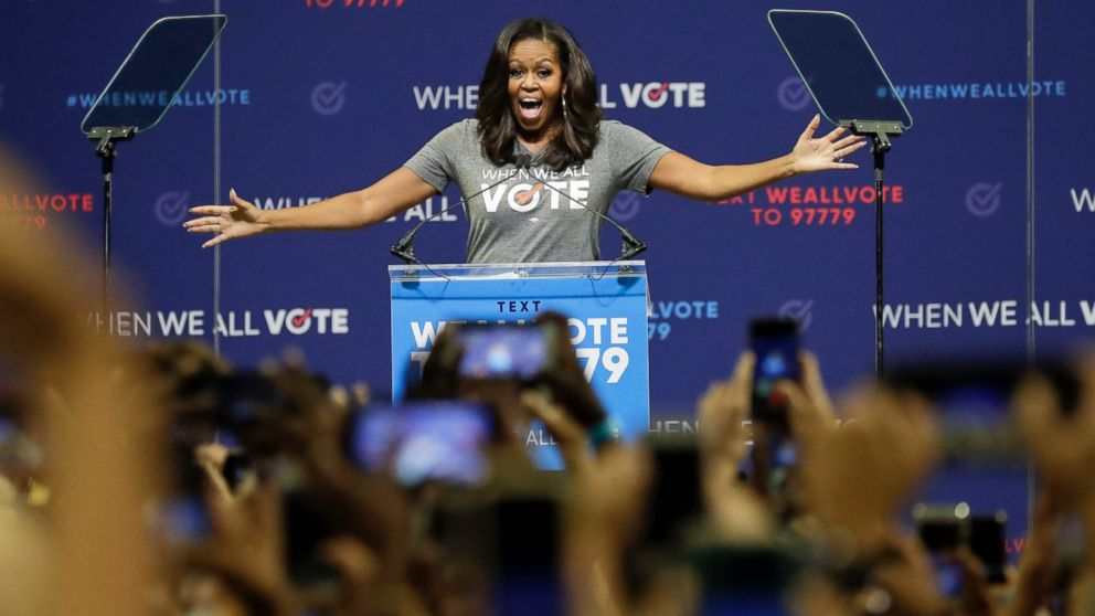 Former first lady Michelle Obama speaks at a rally to encourage voter registration on Friday, Sept. 28, 2018, in Coral Gables, Fla.