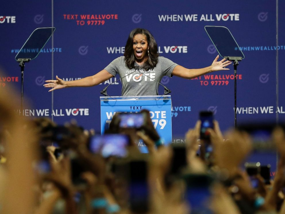 PHOTO: Former first lady Michelle Obama speaks at a rally to encourage voter registration on Friday, Sept. 28, 2018, in Coral Gables, Fla.