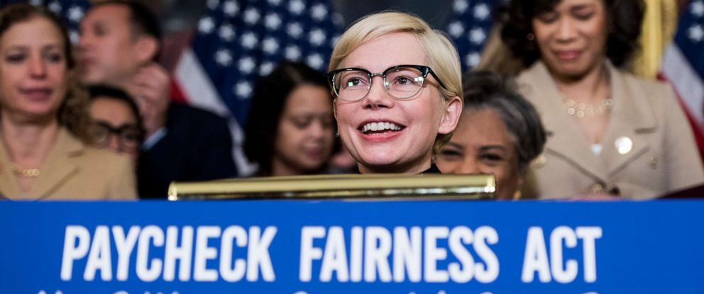 PHOTO: Michelle Williams speaks during the Democratic Womens Caucus press conference marking Equal Pay Day and celebrating passage of the Paycheck Fairness Act, April 2, 2019, in Washington, DC.