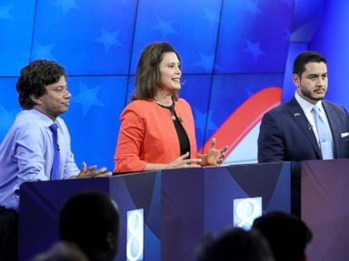 PHOTO: Michigan Democratic gubernatorial candidates from left, Shri Thanedar, Gretchen Whitmer and Abdul El-Sayed are seen during their first debate in Grand Raids, Mich., June 20, 2018.